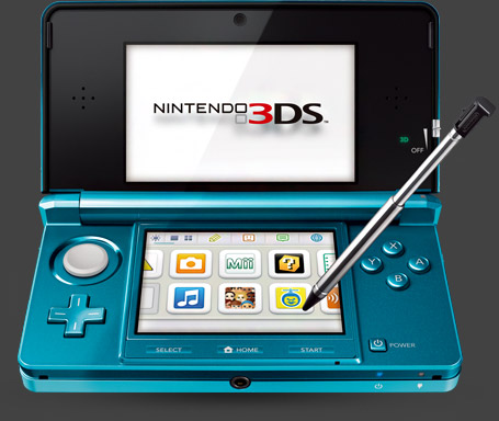 The Nintendo 3DS with dashboard showing