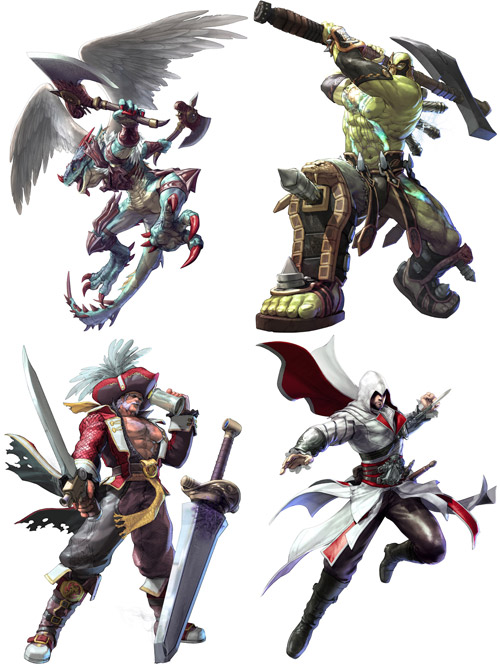 Aeon, Astaroth, Cervantes, and Ezio from SoulCalibur V