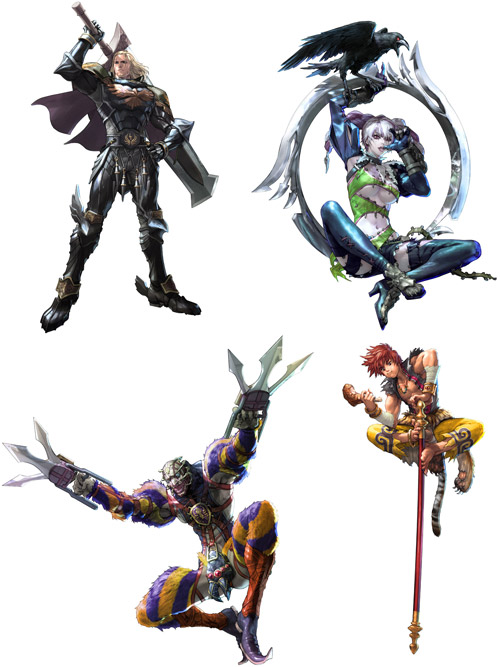 Siegfried, Viola, Voldo, and Xiba from SoulCalibur V