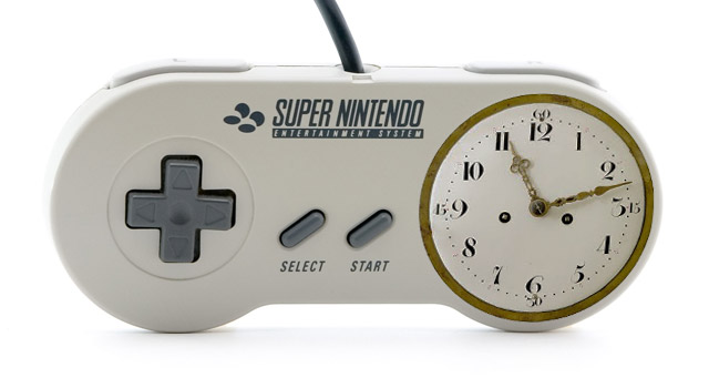 Super NES controller with old-fashioned clock face replacing buttons